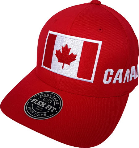Canada Big Flag Cap Flex Fit Red