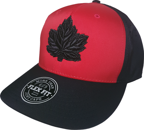 Canada Flex Fit Hat Mighty Maple Red Black Performance Tech