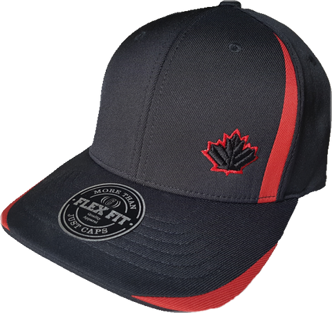 Canada Leaf Performance Flex Fit Cap Black and Red