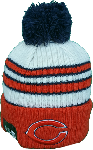 Chicago Bears Traditional Stripe Pom Toque