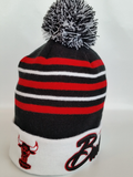 Chicago Bulls Script Stripe Pom Toque