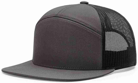 Richardson 7 Panel High Crown Trucker Cap Charcoal Black