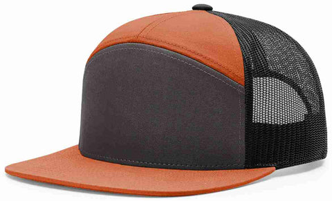 Richardson 7 Panel High Crown Trucker Cap Jaffa Orange Charcoal Black