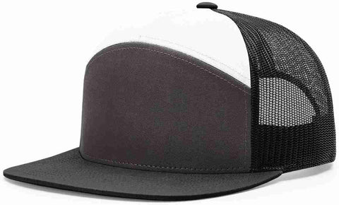 Richardson 7 Panel High Crown Trucker Cap Charcoal White Black