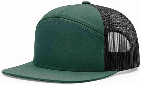 Richardson 7 Panel High Crown Trucker Cap Dark Green Black