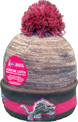 Detroit Lions Breast Cancer Awareness Sideline Fleece Pom Toque
