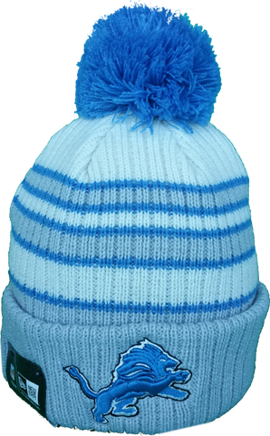 Detroit Lions Traditional Stripe Pom Toque