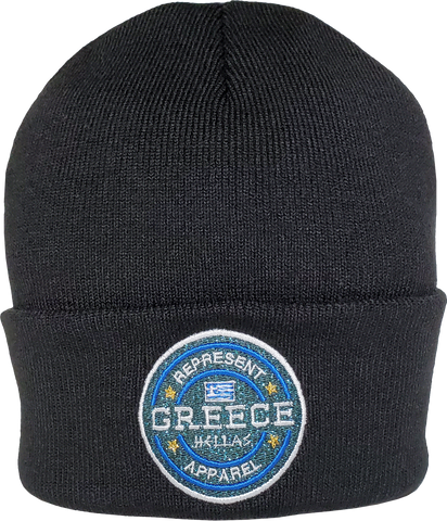 Greece Toque Glitter Benchmark Rib Knit Black