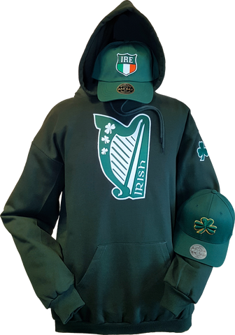 Harp Irish Hoodie Forest Green
