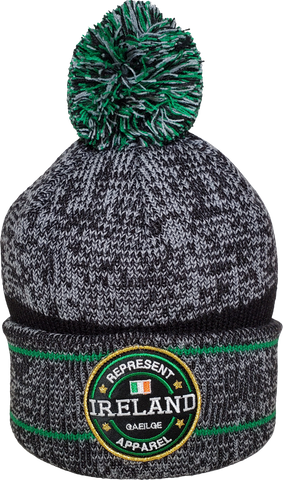 Ireland Pom Toque Benchmark Heather Grey Green