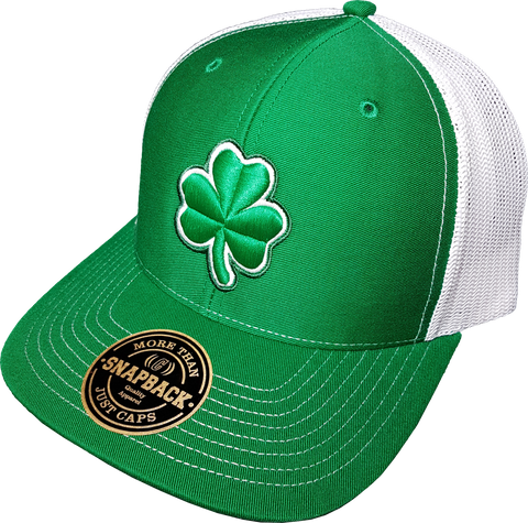 Irish Clover Alt Trucker Snapback Green White