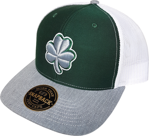 Irish Clover Alt Trucker Snapback Forest Heather Grey