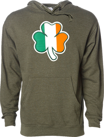 Irish Hoodie Clover Flag Army Heather