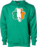 Irish Hoodie Clover Flag Kelly Heather