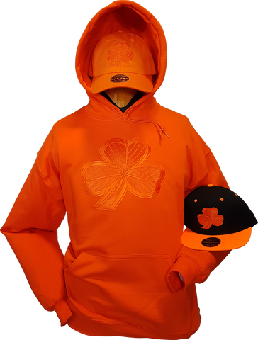 Irish Hoodie Clover Tonal Orange