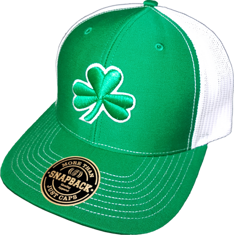 Irish Clover Trucker Snapback Green White