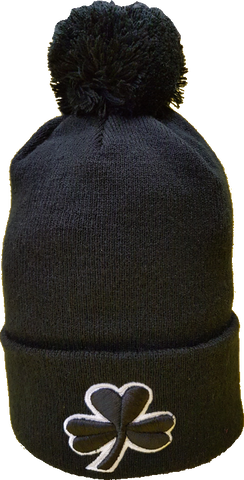 Irish Clover Pom Toque Black