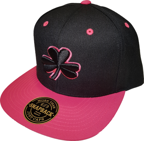 Irish Clover Snapback Black and Pink