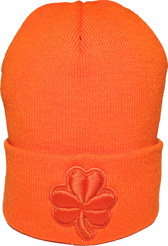 Irish Clover Tonal Basic Cuffed Beanie Toque Orange