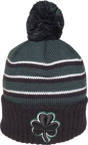 Irish Clover Pom Toque Green Black