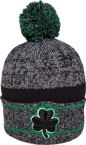 Irish Clover Pom Toque Heather Grey Green Black