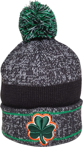 Irish Clover Pom Toque Heather Grey Green Orange