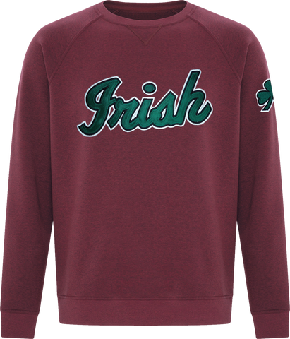Irish Script Premium Crew Neck Sweater Cardinal Heather