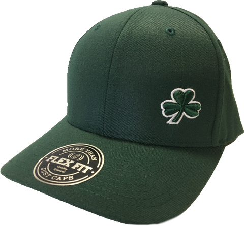 Irish Cap Clover FLS Flex Fit Dk Green with White