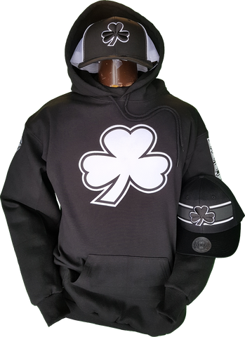 Irish Hoodie Big Clover Black & White