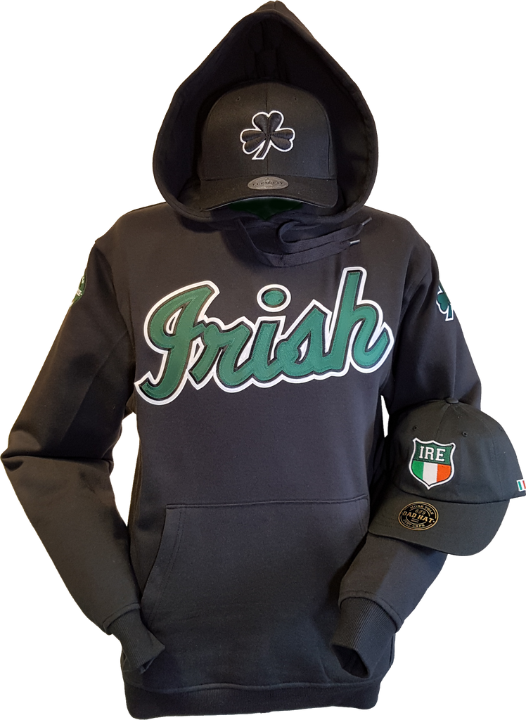 33e6eb03655 Irish Hoodie Script with Embroidered Irish Crests. – More Than Just Caps  Clubhouse