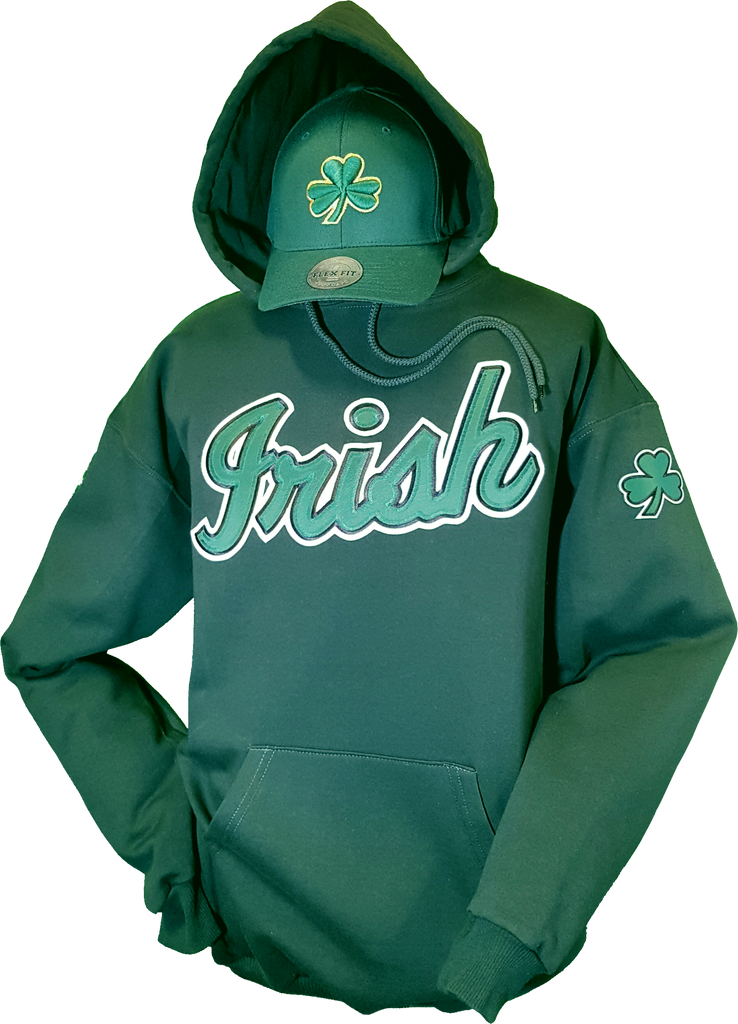 Irish Hoodie Script Forest Green