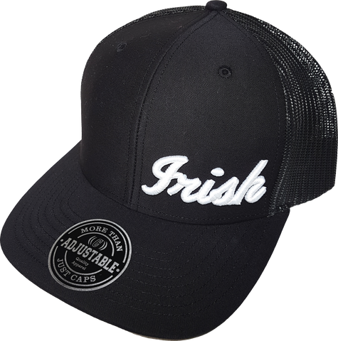 Irish Script Trucker Cap FLS Black and White