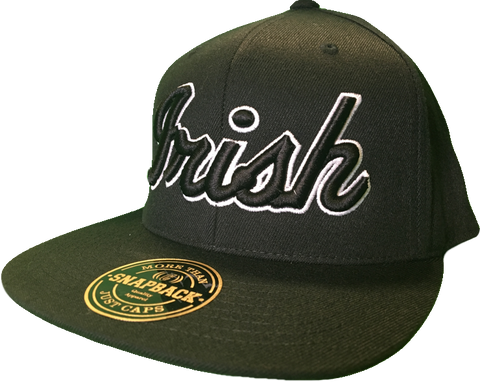 Irish Cap Big Script Snapback Black and White