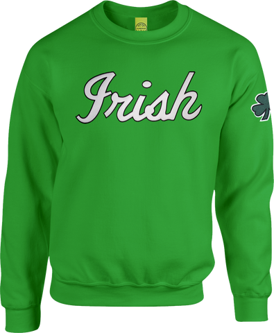 Irish Script Crew Neck Sweater Kelly Green