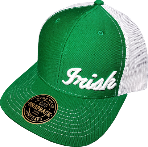 Irish Script Cap Trucker Snapback FLS Green White