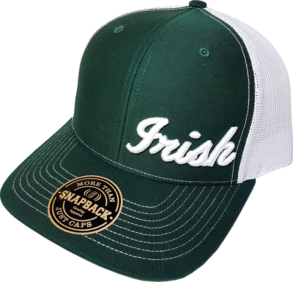 Irish Script Trucker Cap FLS Green and White