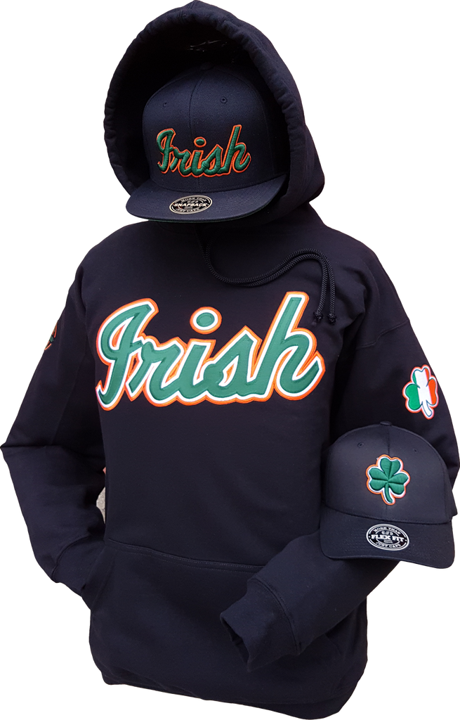 ce6fb4654d4 Irish Hoodie Script with Embroidered Irish Crests. – More Than Just Caps  Clubhouse