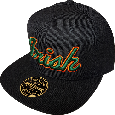 Irish Black Snapback with Green and Orange