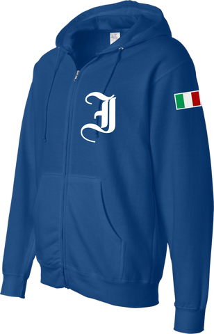Italy Embroidered Zip Hoodie Chivalry Royal