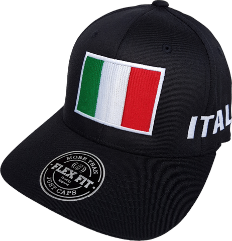 Italy Big Flag Cap Flex Fit Black
