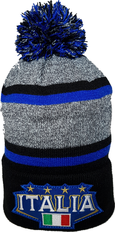 Italy Stripe Heathered Pom Toque