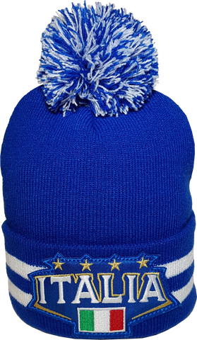 Italy Stripe Cuffed Pom Toque