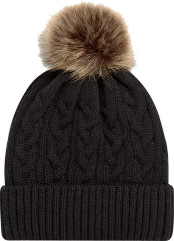 Jacquard Cable Knit Faux Fur Pom Toque Black