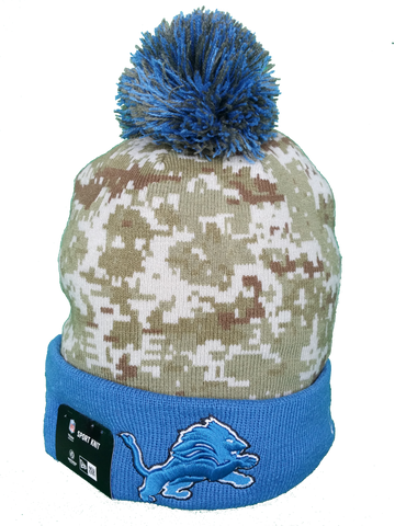 Detroit Lions Salute to Service Sideline Fleece Pom Toque