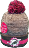 Miami Dolphins Breast Cancer Awareness Sideline Fleece Pom Toque