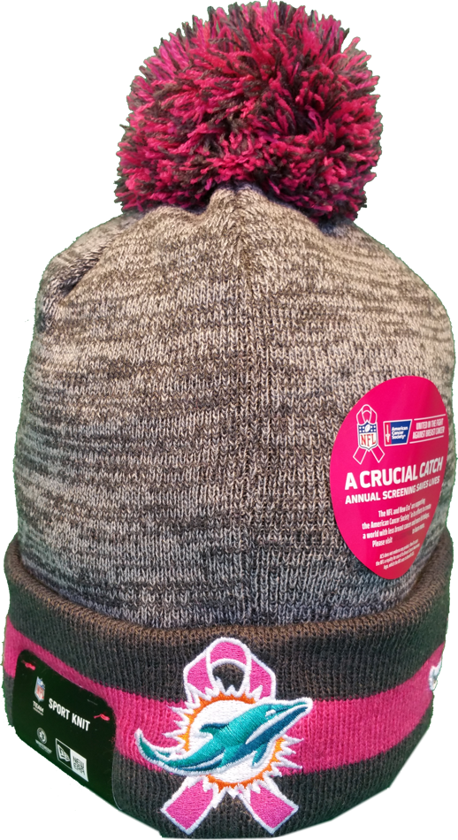 new arrival 2550c a65c8 Miami Dolphins Breast Cancer Awareness Sideline Fleece Pom Toque