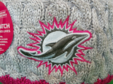 Miami Dolphins Breast Cancer Awareness Womens Fleece Pom Toque