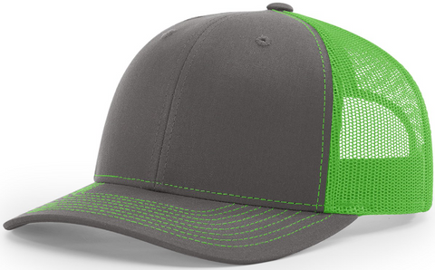 Richardson Mid Crown Trucker Cap Charcoal Neon Green