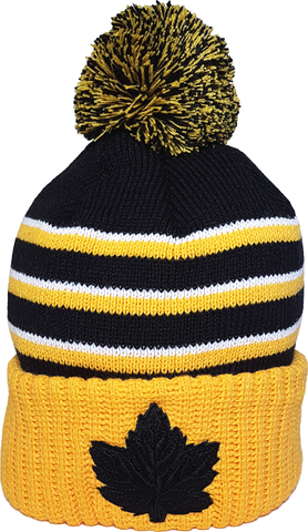 Mighty Maple Canada Pom Toque Tonal Gold Black
