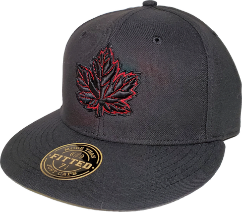 Mighty Maple Canada Fitted Hat Black Red